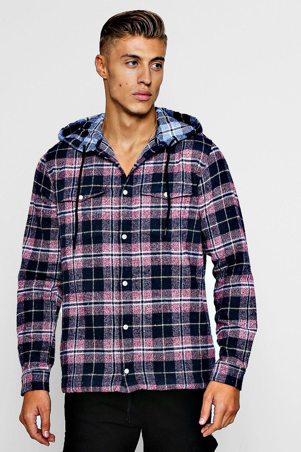 Check Flannel Long Sleeve Shirt With Hood
