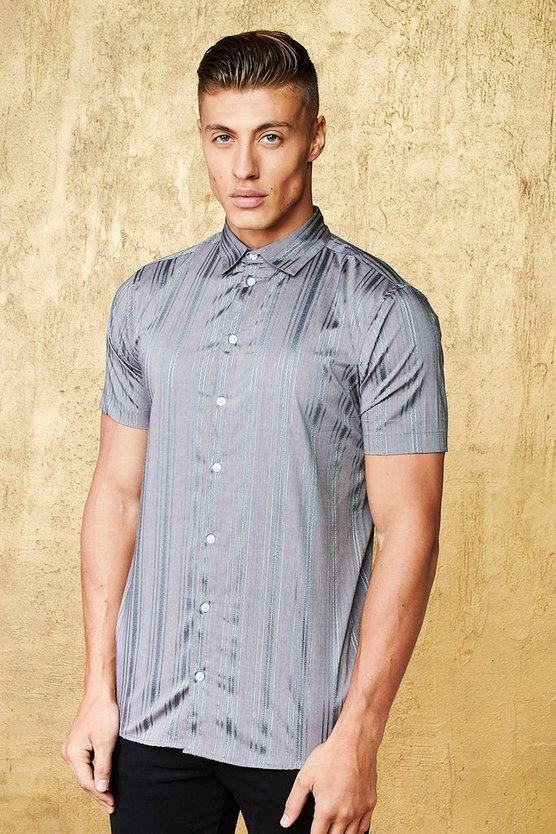 Metallic Stripe Short Sleeve Muscle Fit Shirt