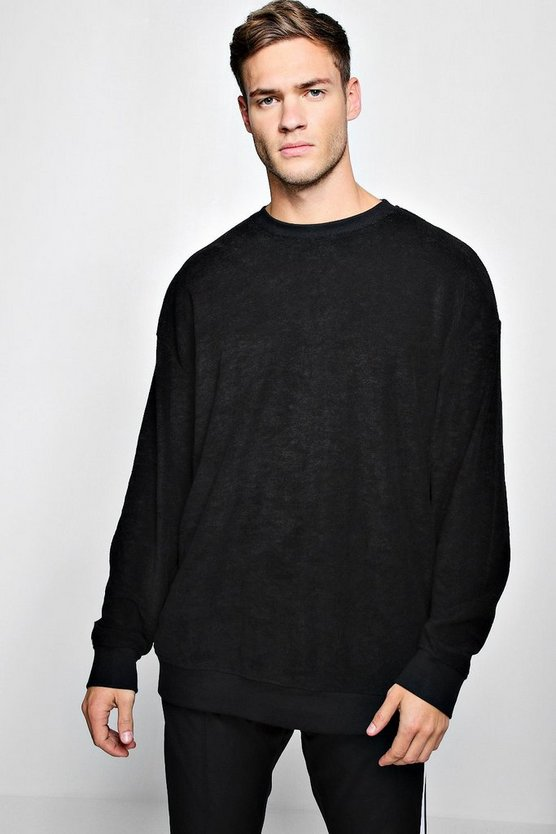 Mens Oversized Sweater In Towelling