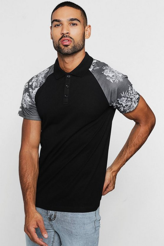 Raglan Polo With Floral Sleeves
