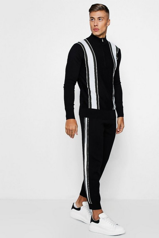 Varsity Stripe Zip Funnel Neck Knitted Set