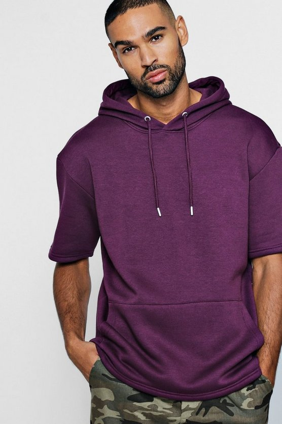 Short Sleeve Drop Shoulder Hoodie