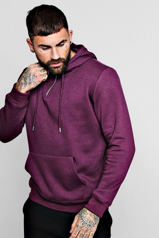 Half Zip Placket Fleece Hoodie