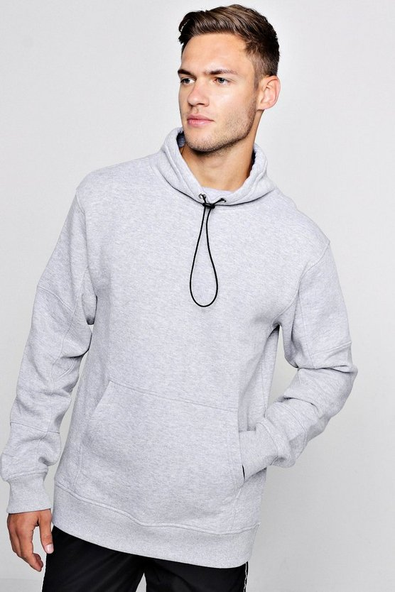 Panelled Funnel Neck Toggle Sweat