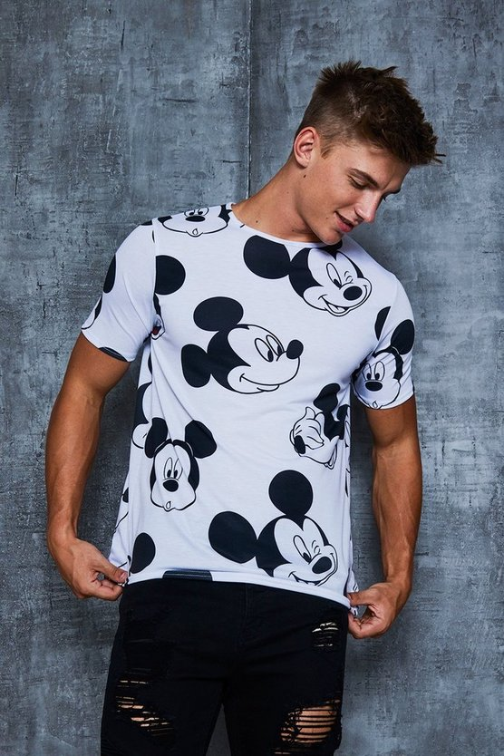 Mens White Disney All Over Mickey Print T-Shirt