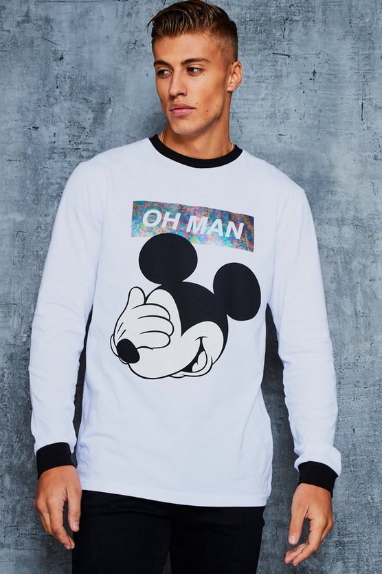 Disney 'Oh Man' Slogan Long Sleeve T-Shirt