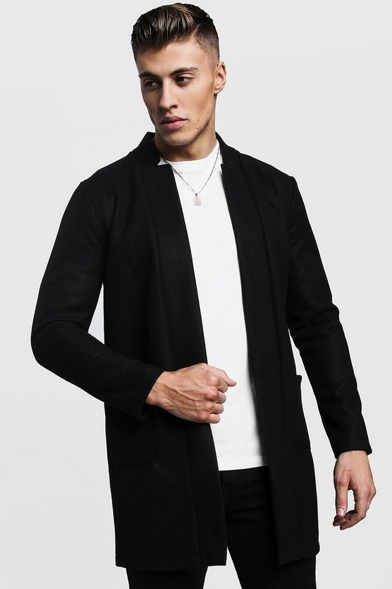 Mens Black Edge To Edge Smart Wool Look Overcoat