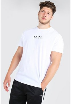 Mens White Big And Tall Long Line Original MAN T-Shirt