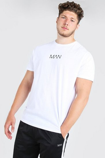 Mens White Big and Tall MAN Dash Longline T-Shirt