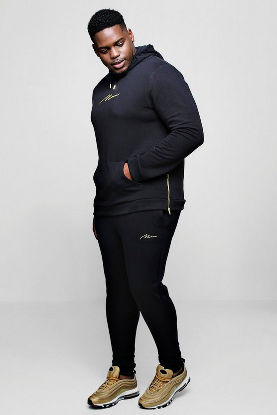 Big And Tall Gold MAN Embroidered Tracksuit