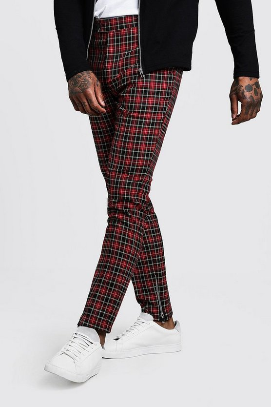 Tartan Smart Trouser With Zip Ankle Detail by Boohoo Man