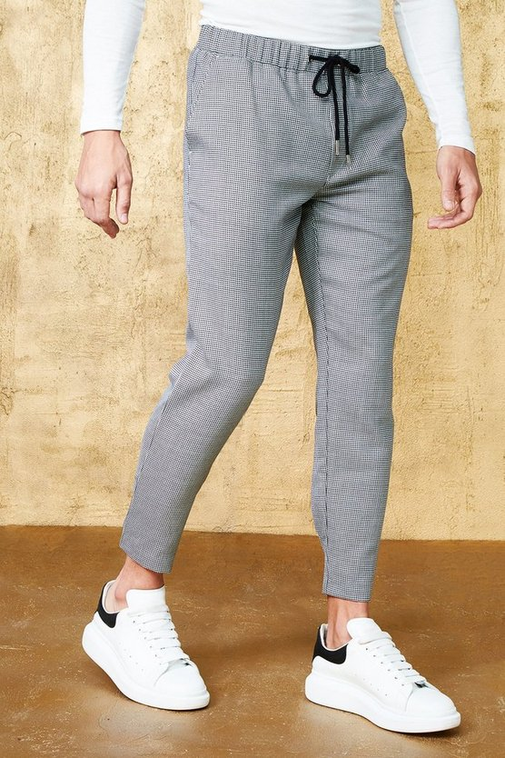 Mini Houndstooth Cropped Smart Jogger