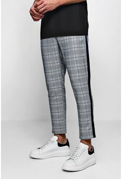 Mens Grey Smart Check Jogger With Tape Detail