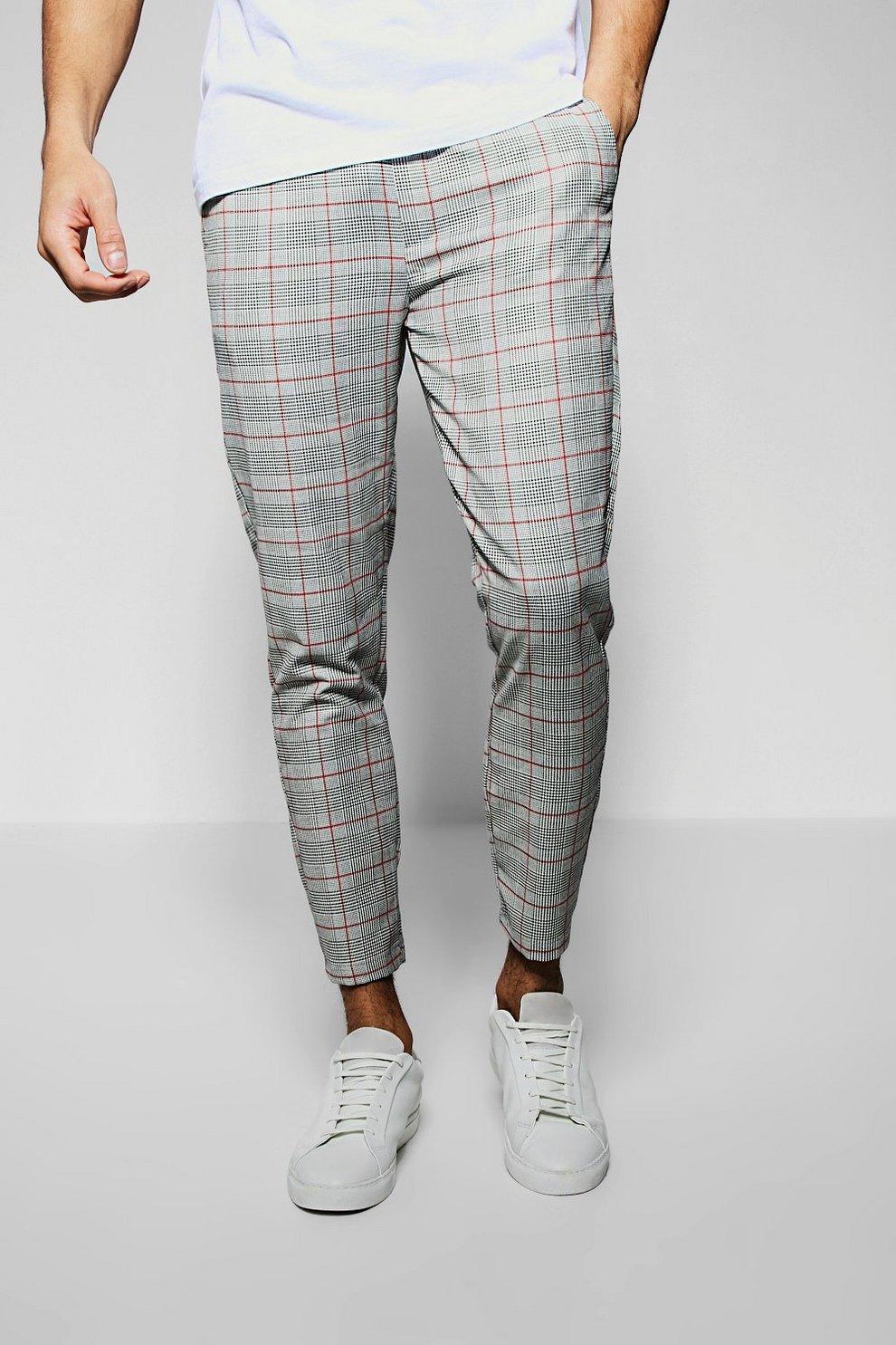 5437397a8d915d Pantaloni tuta eleganti a pinocchietto con motivo a quadri windowpane