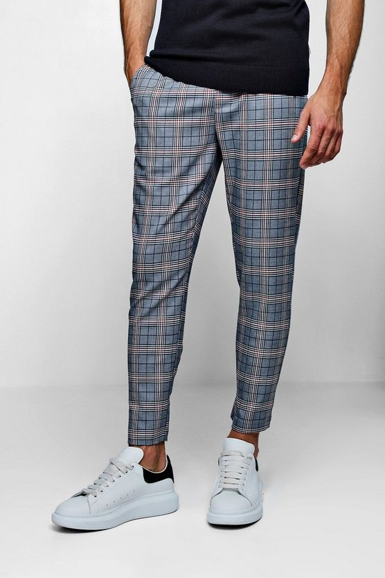 Smart Check Cropped Cuffed Jogger