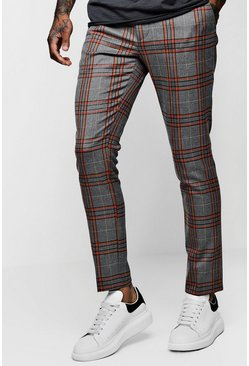 Orange Skinny Bold Detail Check Cropped Pants