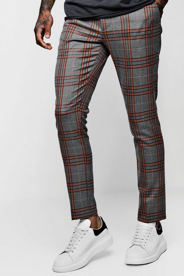 Orange Skinny Bold Detail Check Cropped Trouser