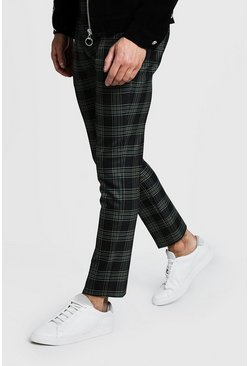 Mens Green Bold Check Detail Cropped Trouser