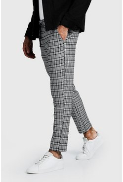Mens Navy Smart Check Cropped Jogger Trouser