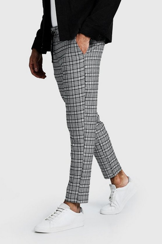 Mens Navy Smart Check Cropped Jogger Pants
