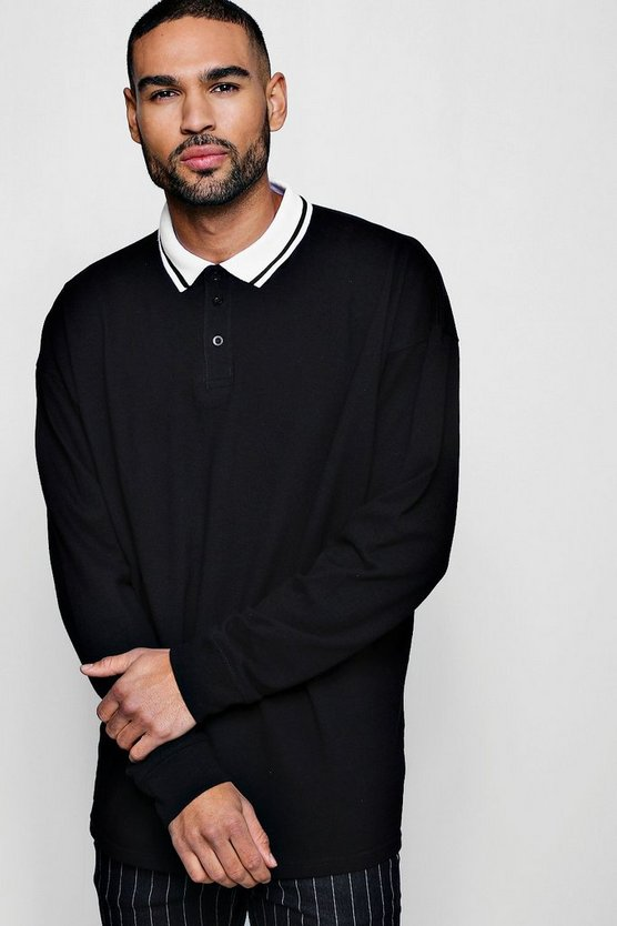 Oversized Polo In Long Sleeve With Tipped Collar