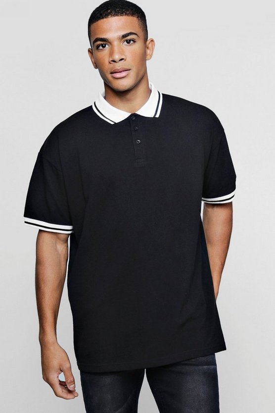 Oversized Pique Polo With Tipping