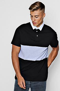 Short Sleeve Rugby Polo With Chest Panel