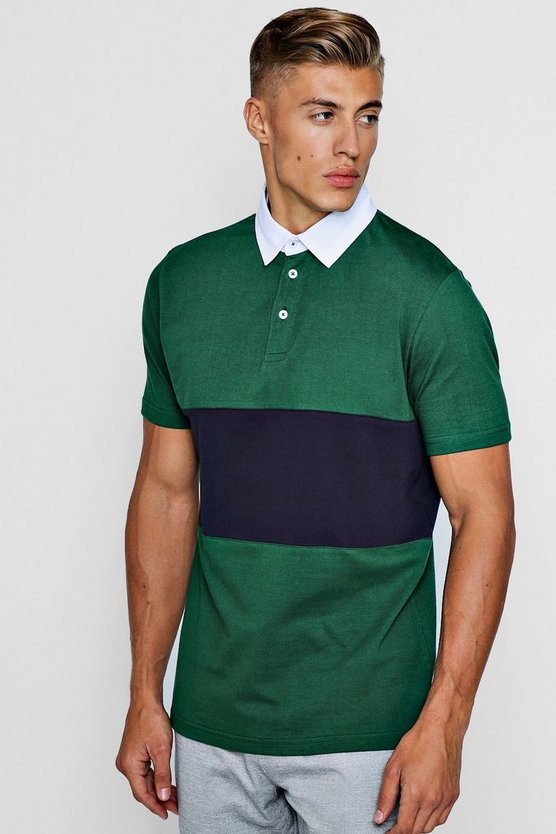 Short Sleeved Rugby Polo With Chest Panel