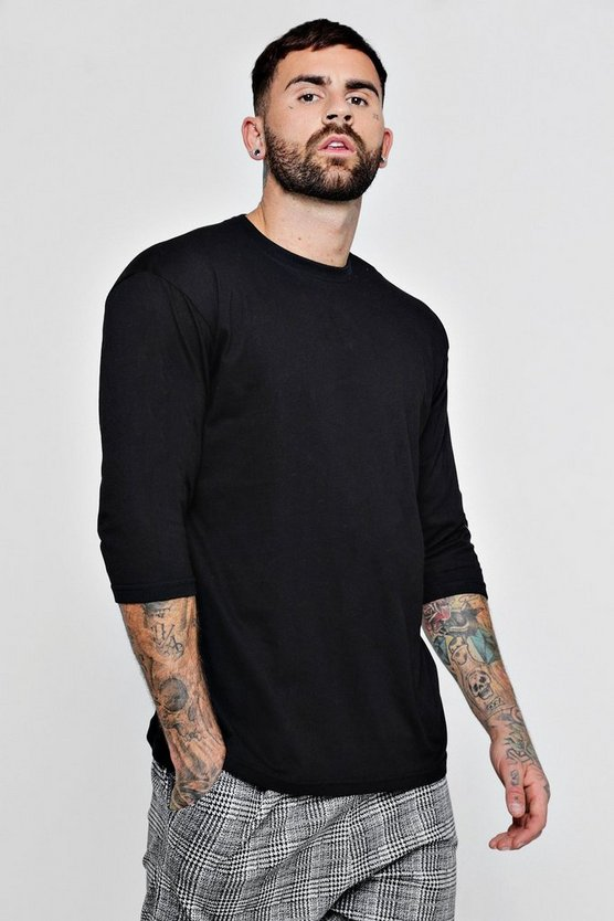 Mens Black Loose Fit 3/4 Sleeve T-Shirt