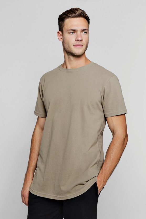 Longline Pique T-Shirt With Curved Hem