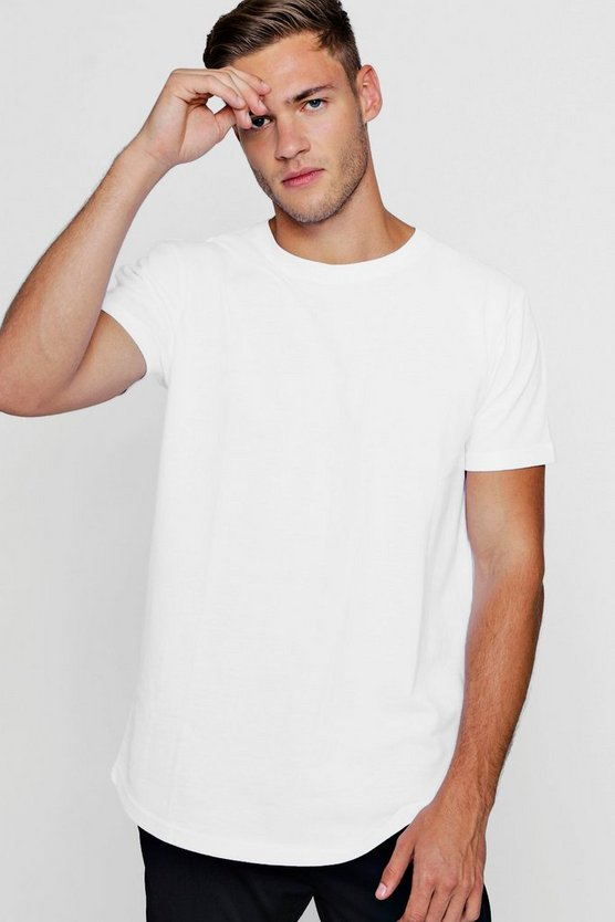 Longline Pique T-Shirt With Curve Hem