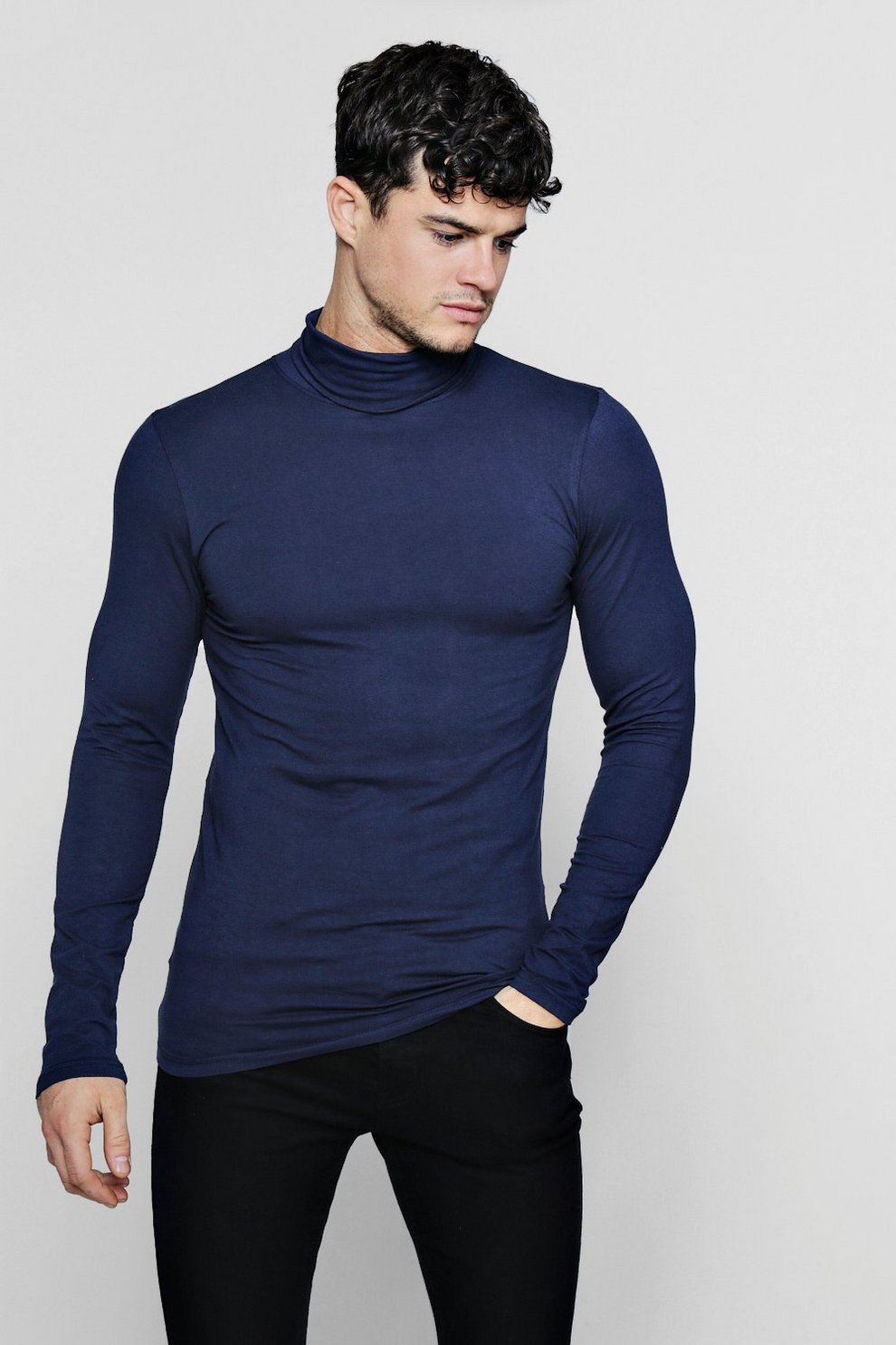 b5d1ccc9 Long Sleeve Roll Neck T-Shirt In Muscle Fit | Boohoo