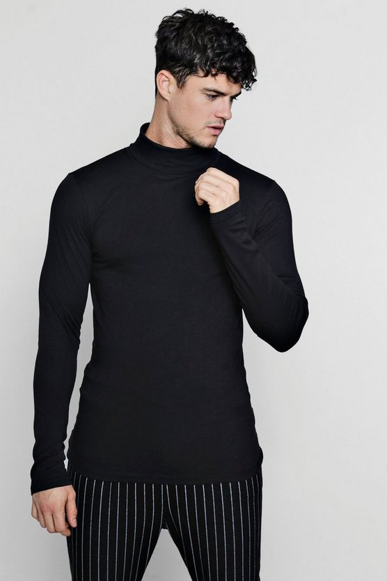 Long Sleeve Roll Neck T-Shirt In Muscle Fit