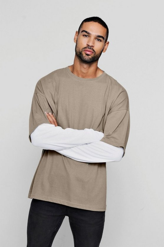 Oversized Faux Layer Long Sleeve T-Shirt