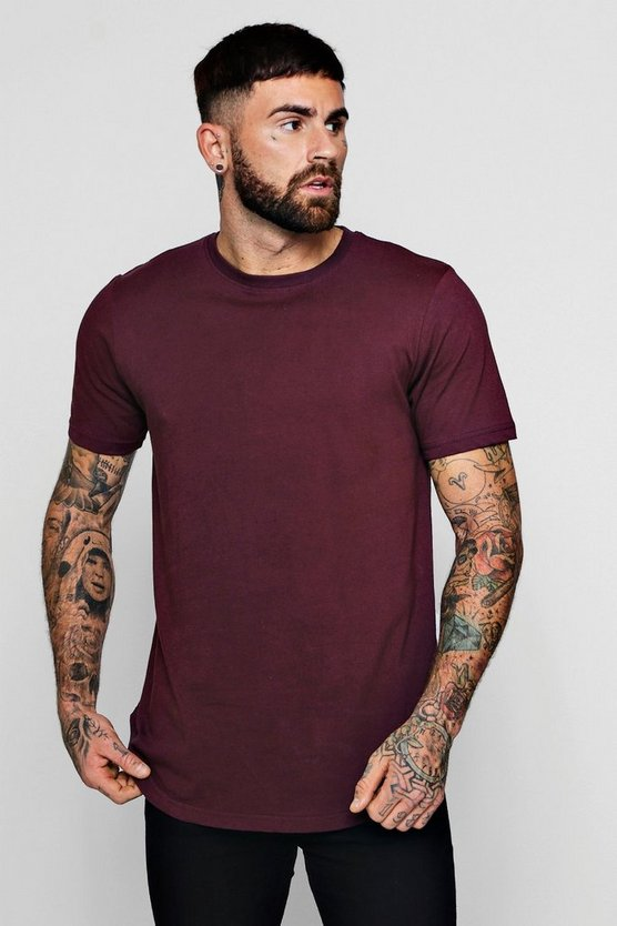 Longline T-Shirt With Extreme Curve Hem