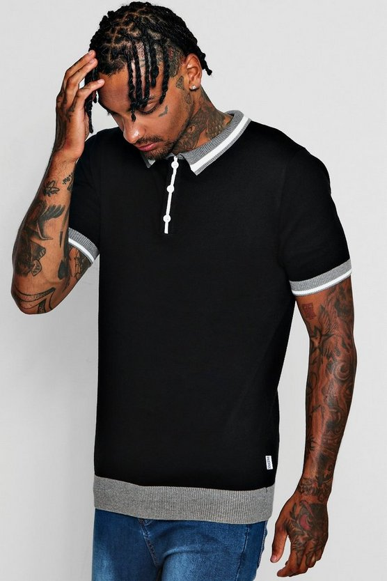 Short Sleeve Knitted Polo with Tipping