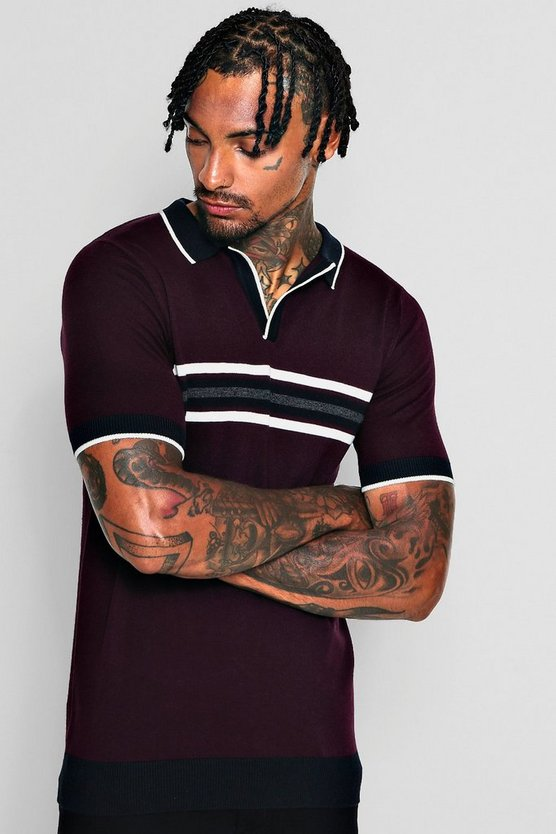 Short Sleeve Colour Block Knitted Polo