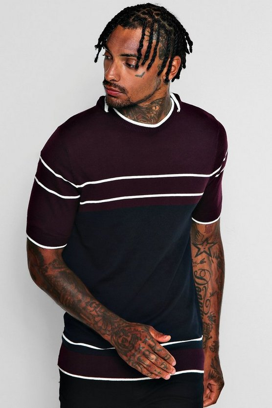 Short Sleeve Colour Block Knitted T-Shirt