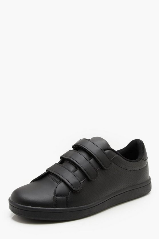 Faux Leather Triple Velcro Trainer