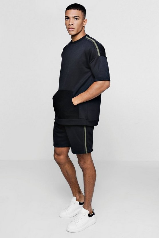 Mens Drop Shoulder Sweater Short Tracksuit With Tape