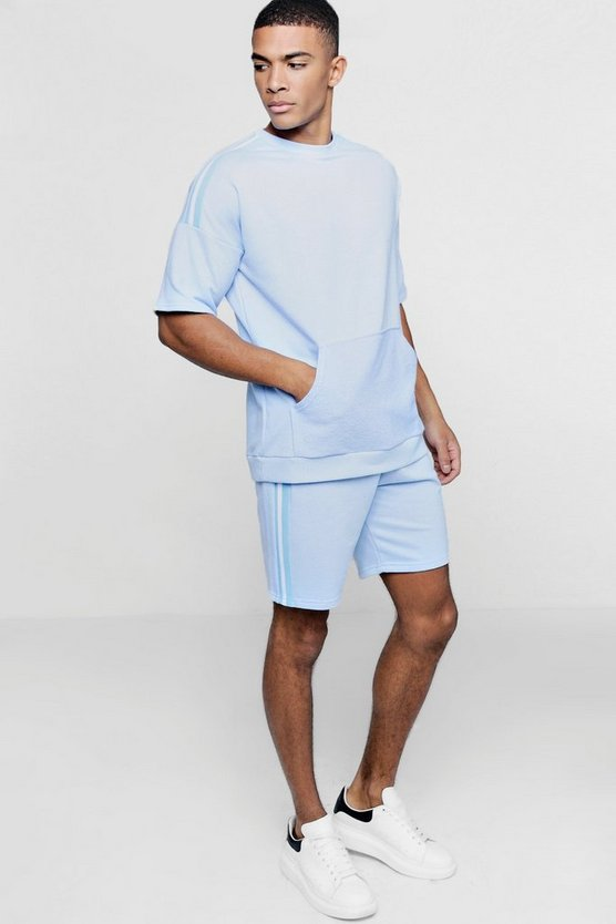 Drop Shoulder Sweater Short Tracksuit With Tape