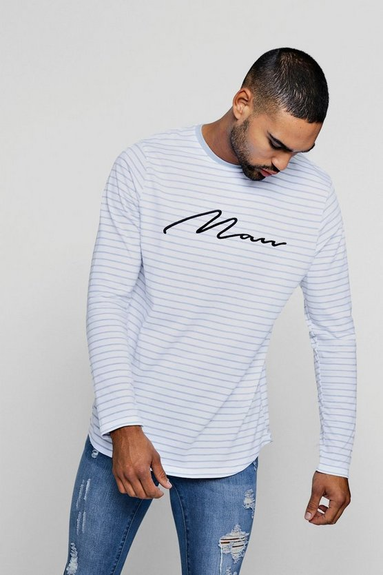 MAN Embroidered Stripe Curve Hem T-Shirt