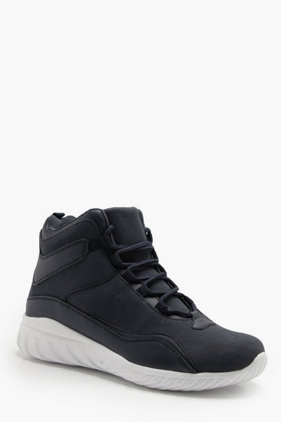 Navy Interlace Faux Suede Hi Top