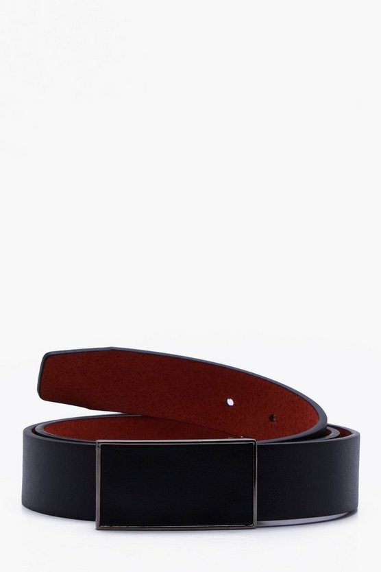 Faux Leather Covered Buckle Belt