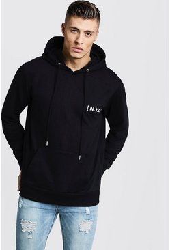 Mens Black Over The Head NYC Slogan Hoodie