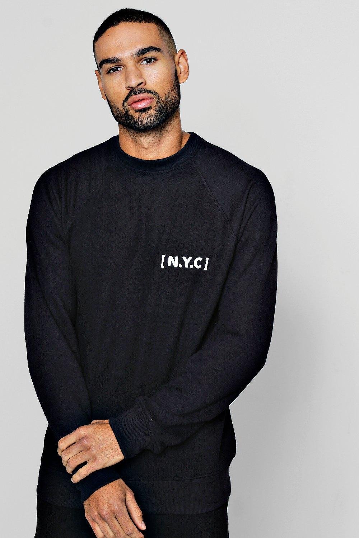 Crew Neck Sweatshirt with NYC Slogan