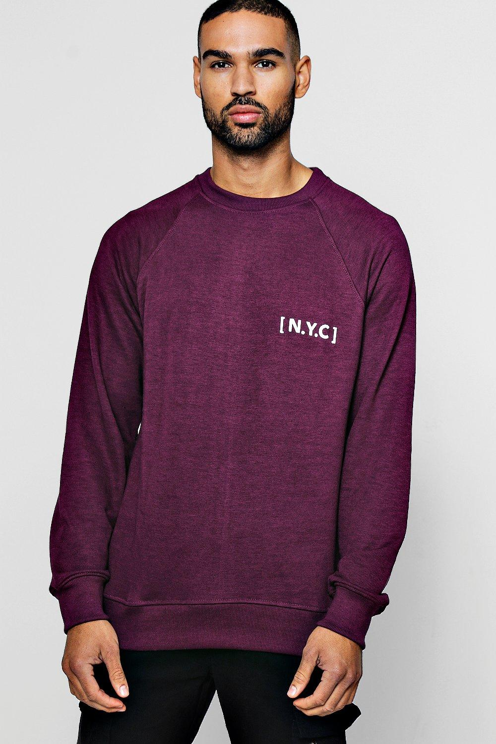 Crew Neck Sweatshirt with NYC Slogan
