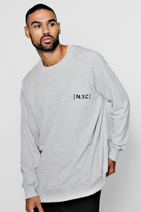 Oversized Sweatshirt with NYC Slogan Print