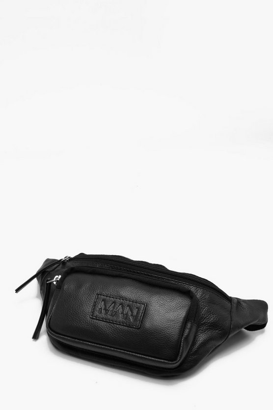 Real Leather MAN Patch Pocket Bum Bag