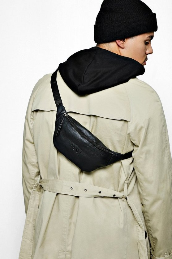 Real Leather MAN Embossed Bum Bag